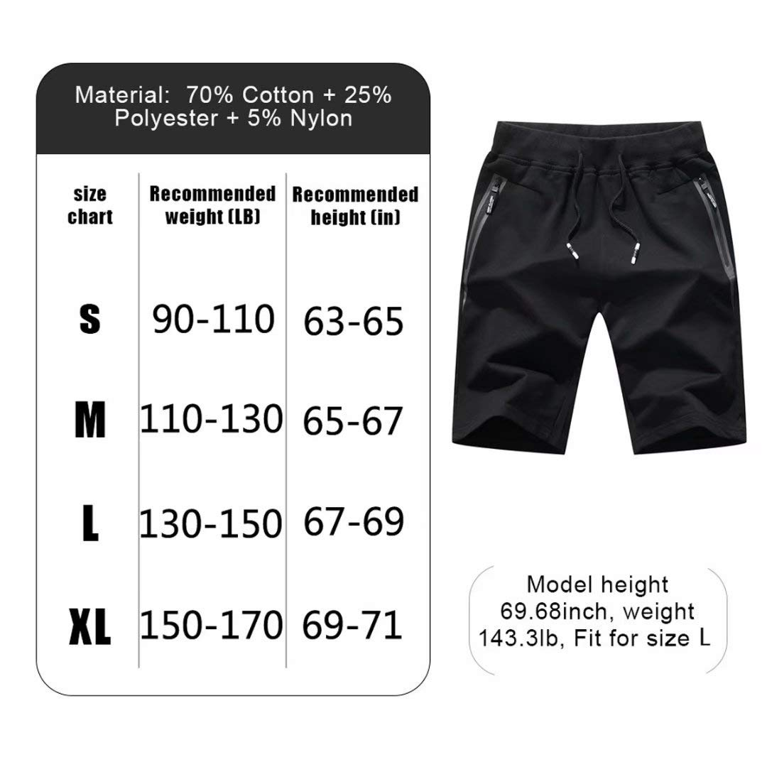 Tansozer Men's Shorts Casual Classic Fit Cotton Jogger Gym Shorts Elastic Waist Zipper Pockets (Black, Large) by Tansozer (Image #2)