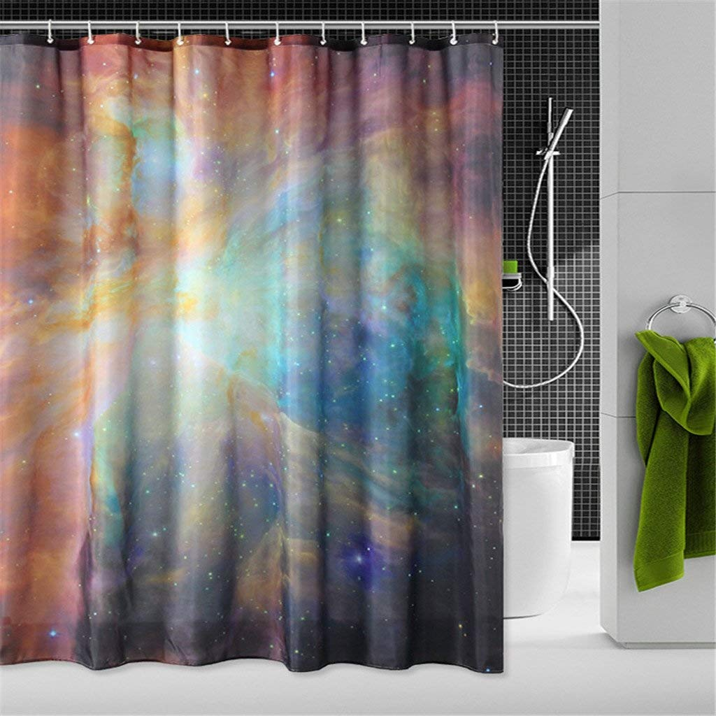 Der Modern Simple Starry Shower Curtain Digital Print Polyester Brass Bucket Waterproof Mildewproof Bathroom Partition Home Colorful