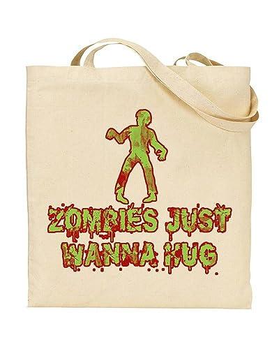 Zombies Just Wanna Hug Zombie Apocalypse Zombie Jokes Tote