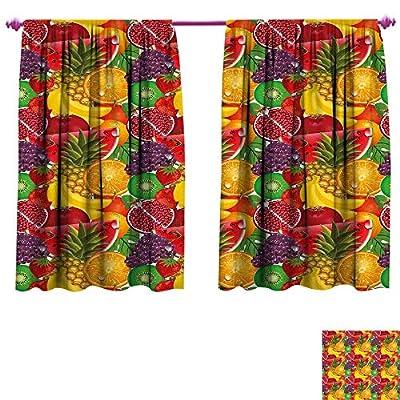Colorful Window Curtain Drape Exotic Tropical Fresh Ripe Juicy Fruits Pineapple Berries Watermelon Grape Orange Customized Curtains W55 x L39 Multicolor