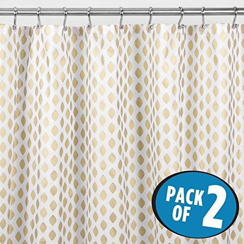 mDesign Gold Metallic Diamond Print Fabric Shower Curtain - Pack of 2, 72