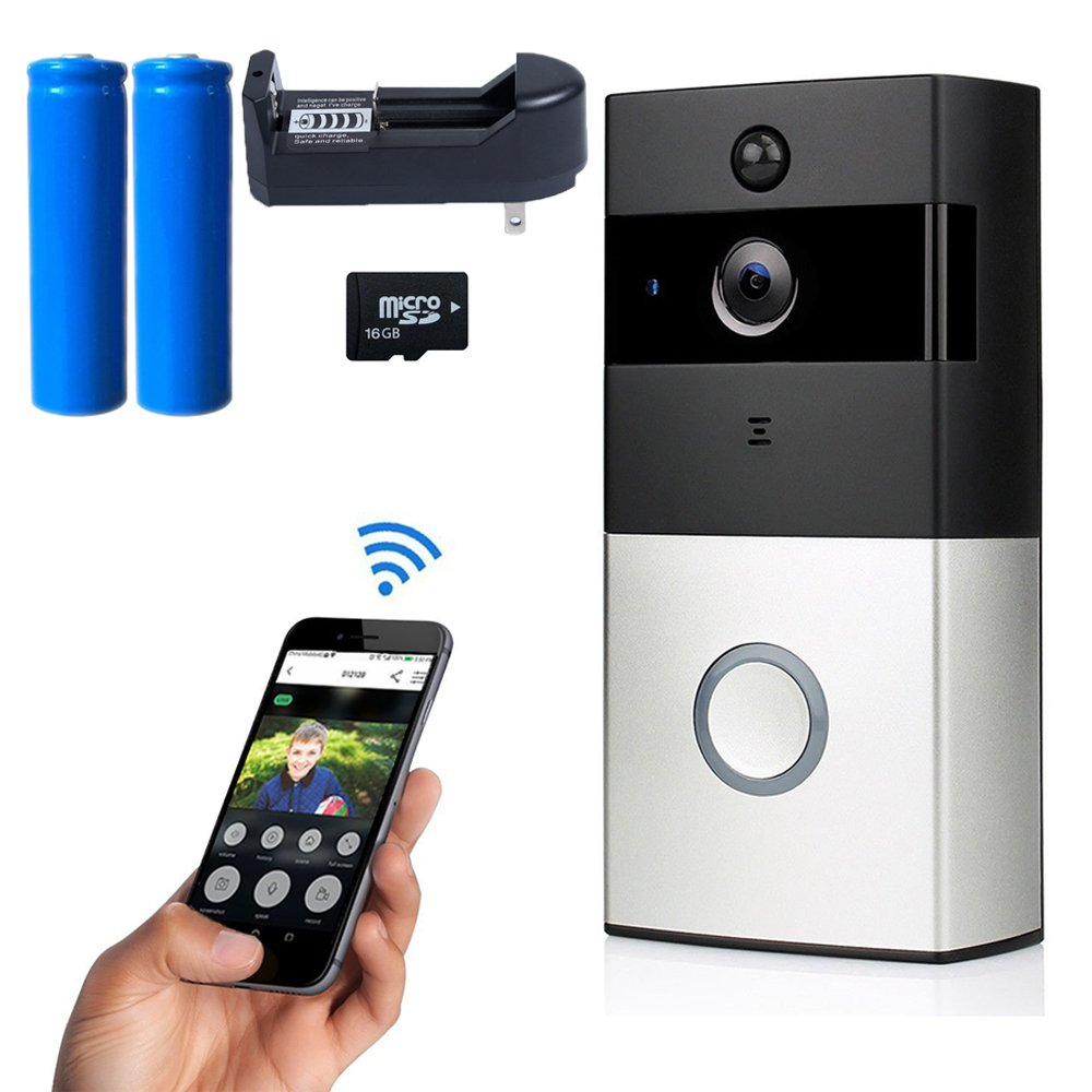 Wireless Video Doorbell, HighSound Home Doorbell 720P HD Wifi Security Camera 16G Memory Card, Real-Time 2-Way Talk Intercom, Night Vision, App Control for IOS and Android, Rechargeable 18650 Battery