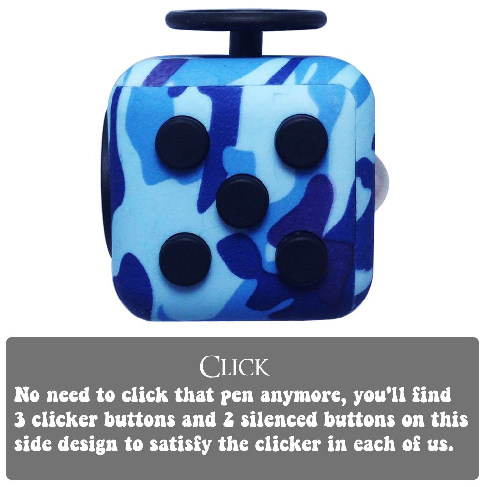 LvnWin Fidget Cube Dice Toy Stress Reducer Helps Focusing Relax Anti-Anxiety Boredom For ADD, ADHD, EDC, Kids and Autism Adult Children (Camo Blue) by LvnWin (Image #6)