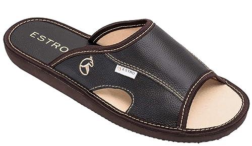 ESTRO Zapatillas De Casa Hombre Piel De Carnero Pantuflas Casa Hombre Suela De Memoria Verano: Amazon.es: Zapatos y complementos