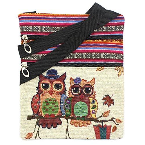 Bags us Canvas Zipper Messenger Bag Owl Printed Linen Shoulder Bag Stachel Bohemian Crossbody Bag