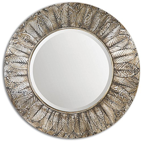 Grace Feyock Collection (Uttermost 07065 Foliage Round Leaf Mirror, Silver)