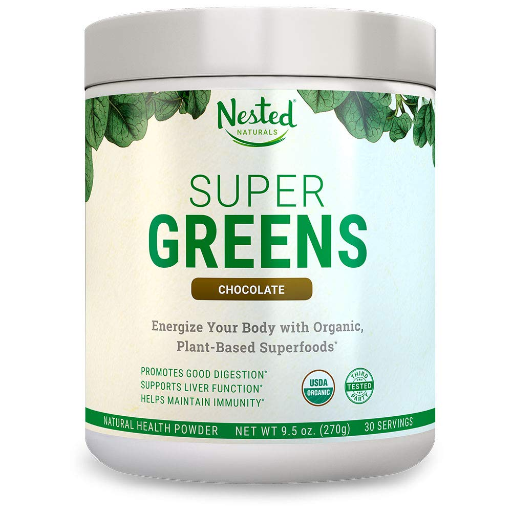 Super Greens 1 Green Veggie Superfood Powder 30 Servings 20 Whole Foods Wheat Grass, Spirulina, Chlorella, Barley , Probiotics, Fiber Enzymes 100 USDA Organic, Non-GMO, Vegan Supplement