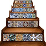 mosaic tile backsplash  Peel and Stick Tile Backsplash Stair Riser Decals DIY Tile Decals Mexican Traditional Talavera Waterproof Home Decor Staircase Decal Stair Mural Decals 7''W x 39''L (Set of 6)
