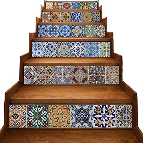 Decorative Mosaic Tile Cut - yazi Peel and Stick Tile Backsplash Stair Riser Decals DIY Tile Decals Mexican Traditional Talavera Waterproof Home Decor Staircase Decal Stair Mural Decals 7''W x 39''L (Set of 6)