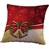 Christmas Pillow Case,Beautyvan Christmas Linen Square Throw Flax Pillow Case Decorative Cushion Pillow Cover (2~E)