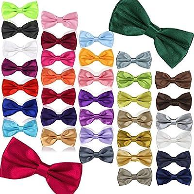 Byeco 36 Colors Pre Tied Mens Adjustable Bow Tie Fancy Plain Tie