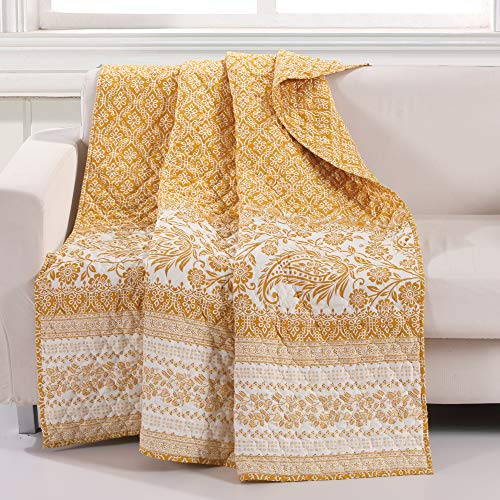 Barefoot Bungalow Mykonos Throw Blanket 50x60-Inch Gold (Quilted Throw Gold)