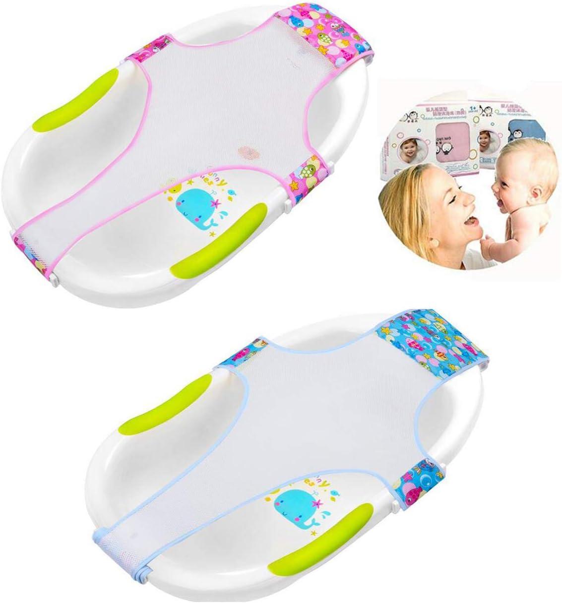 Biluer 2PCS Bañera Bebe Recién Nacido Ajustable Versátil Antideslizante Bebé Soporte Para El Baño Para Bebés De Ducha De Malla De Bañ Accesorios De Baño Rojo And Azul