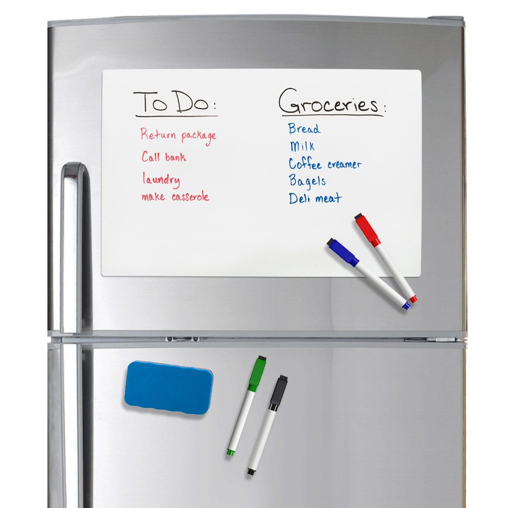 "Refridge Reminder Magnetic Dry Erase Whiteboard 17"" X 11"" Sheet for Refrigerator with Stain Resistant Technology. Set of 4 Magnetic Markers and a Big Magnetic Eraser. Ships Flat, Never Rolled!!"