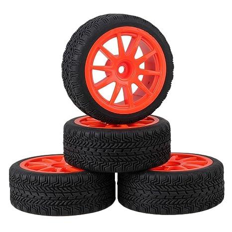 Youzone Negro 65x26mm alto agarre de goma de neumáticos + rojo de plástico de 10 radios
