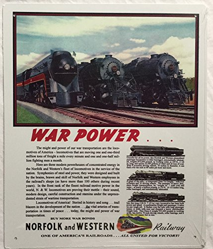 (RR Railroad Tin Sign - Norfolk & Western War Power)