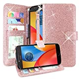 Moto E4 Case, Linkertech Glitter Shiny Luxury PU Leather Flip Pouch Wallet Case Cover with Card Slots and Wrist Strap for Motorola Moto E (4th Generation) US Version (Glitter Rose Gold) Review