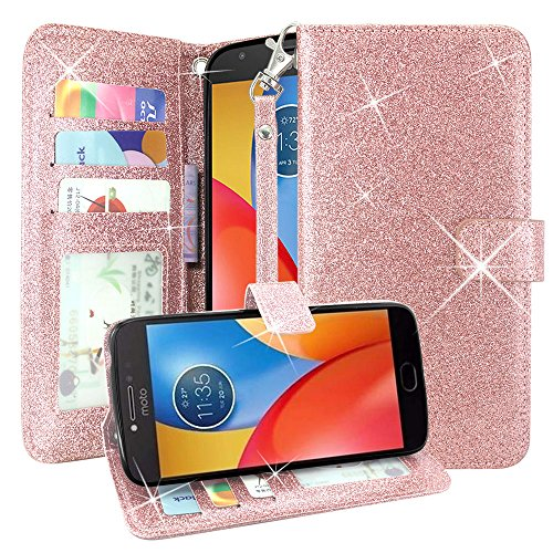 Moto E4 Case, Linkertech Glitter Shiny Luxury PU Leather Flip Pouch Wallet Case Cover with Card Slots and Wrist Strap for Motorola Moto E (4th Generation) US Version (Glitter Rose Gold)