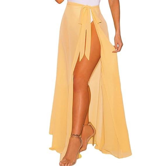 JLTPH Mujer Falda Larga Pareo Boho Split Color Sólido Maxi Falda Vestido de  Playa Fiesta Casual Bikini Cover Up Bañador  Amazon.es  Ropa y accesorios 8defed81fb88