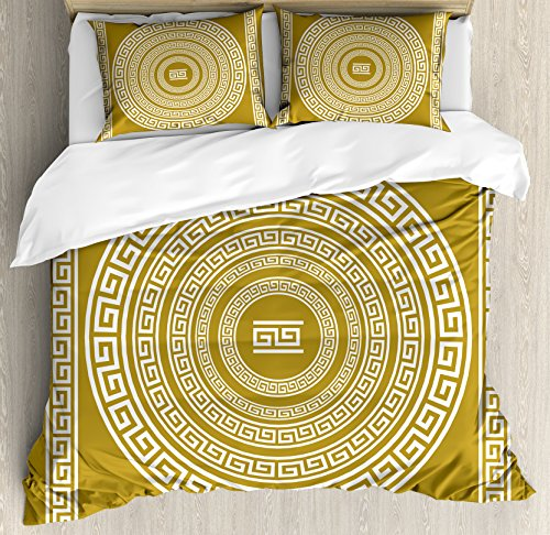 (Ambesonne Greek Key Duvet Cover Set, Frieze with Vintage Ornament Meander Pattern from Greece Retro Twist Lines, Decorative 3 Piece Bedding Set with 2 Pillow Shams, King Size, Amber White)