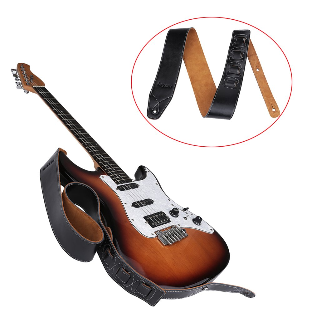 Rayzm Correa de guitarra o bajo con forro de terciopelo, Correa de piel auténtica para guitarras electricas o acusticas y bajos. 6,5cm de ancho, ...