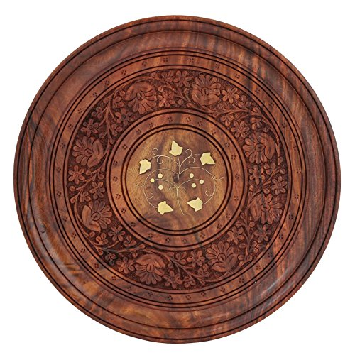Fine Craft India Wooden Round Fine Carved Brass Inlay Plate Dia: 12inch