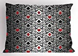 Lunarable Poker Tournament Pillow Sham, Card Symbols Hearts Spade Ornament Victorian Floral Swirls Pattern, Decorative Standard Queen Size Printed Pillowcase, 30 X 20 Inches, Silver Black Red