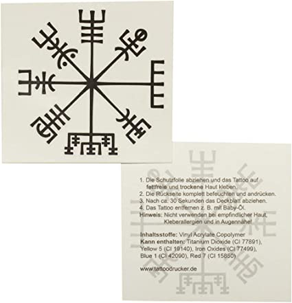 Tattoodrucker X Vikings Compass Tatouage Vegvisir Boussole Celtique Symbole De Protection Mystique Amazon Fr Sports Et Loisirs