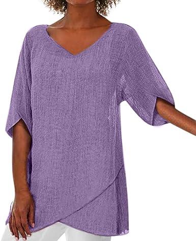 Darringls Camiseta para Mujer, Las Mujeres de Manga Corta Floja botón Ocasional Blusa Camiseta sin Manga (Púrpura, M): Amazon.es: Ropa y accesorios