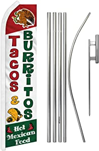 Infinity Republic - Tacos and Burritos Banner Swooper Flag & Pole Kit - Perfect for Restaurants, Food Trucks, Taco Stands, Cafes, etc!