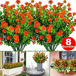 8 Bundles Artificial Flowers, Fake Outdoor UV Resistant Faux Plastic Greenery Shrubs Plants Decor for Outside Hanging Planter Wedding Home Office Garden July 15-16(1.red) 113