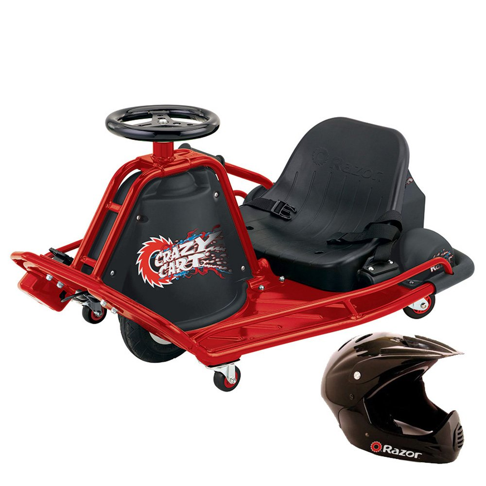 Razor Crazy Cart Electric 360 Spinning Drifting Ride On Outdoor Go Cart + Helmet