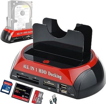 External Dual 2.5//3.5/'/' SATA IDE HDD Hard Drive Docking Clone Card Reader USB2.0