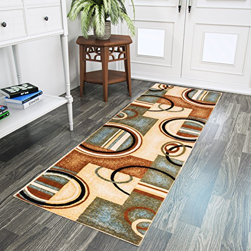 Well Woven Barclay Arcs & Shapes Light Blue Modern Geometric Area Rug 2'7'' X 9'6'' Runner