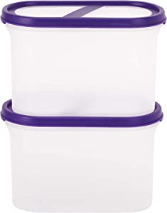 SIMPARTE Pantry Airtight Food Storage Containers  5 Cup 2 Container Set Microwave & Dishwasher Safe BPA Free Cereal and Dry Food Storage Containers Freezer Safe Space Saver Modular Design Purple Lids