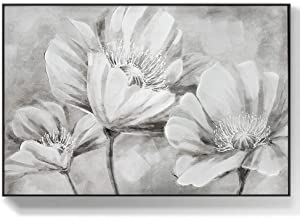 lamplig Gray Flower Wall Art Large Floral Poppy Room Wall Pictures Black White Hand Painted Oil Painting Living Room Bedroom Art Wall Decor White Framed Canvas Artwork for Walls Grey Prints 48