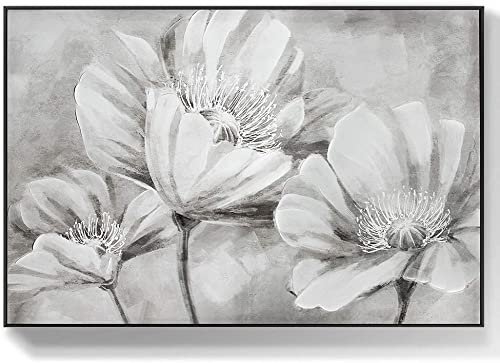 Lamplig Gray Flower Wall Art Large Floral Poppy Room Wall Pictures Black White Hand Painted Oil Painting Living Room Bedroom Art Wall Decor White Framed Canvas Artwork