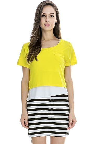 bearsland – Vestido de maternidad lactancia con camisa en la parte superior Amarillo amarillo Large