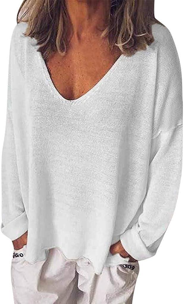 AIni Bluas De Mujer Verano Camisa AlgodóN Top De Manga Larga De Color Liso para Mujer Camisa De OtoñO Blusa con Cuello En V Camisa De Color SóLido De Moda Tops Casual: