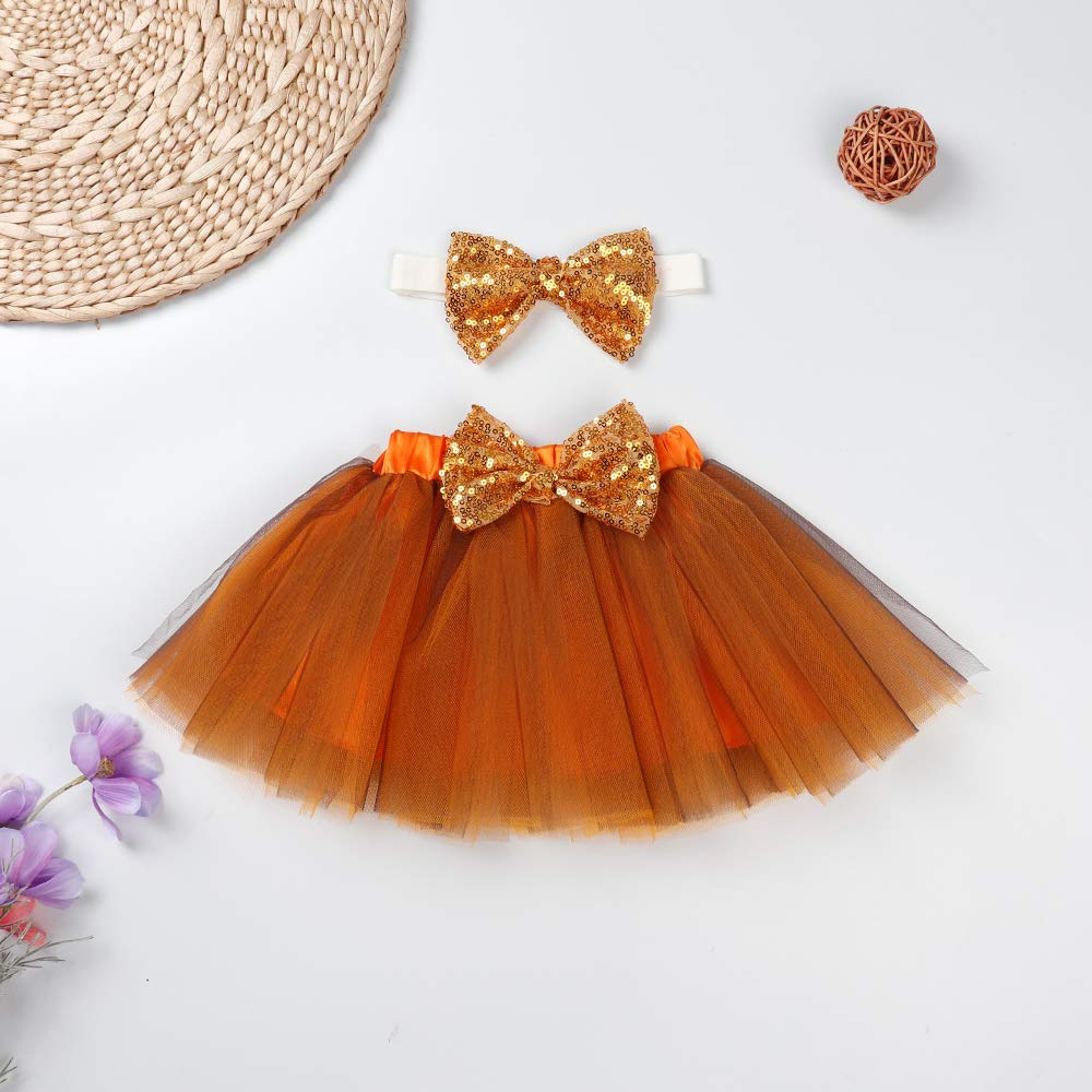 Tutu Dress+Headband Clothes Sets Infant Baby Girls Outfits My First Thanksgiving Long Sleeve Romper