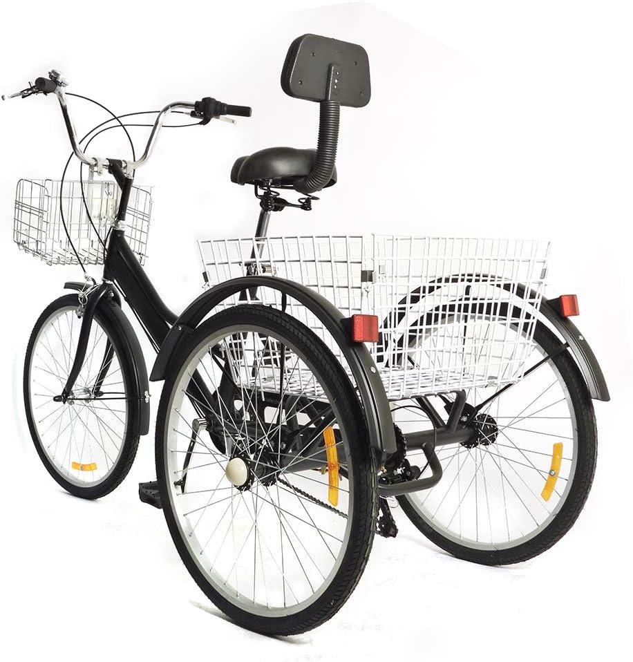 negro altura del veh/ículo ajustable Generic 7 velocidades Triciclo para adultos de 24 pulgadas con respaldo y 2 cestas con cesta plegable