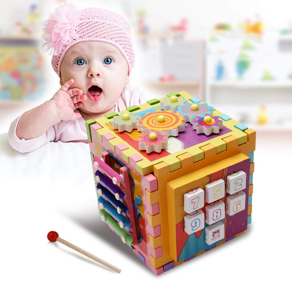 MG.QING Music Knocking on The Piano Wooden Toy Six-Sided Multi-Function Desktop Maze Block Matching Educational Children's Toys by MG.QING
