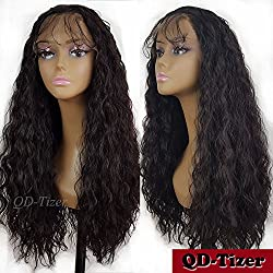 QD-Tizer 180 Density Long Loose Curly Synthetic Lace Front Wigs 4# Color Hair for Fashion Women