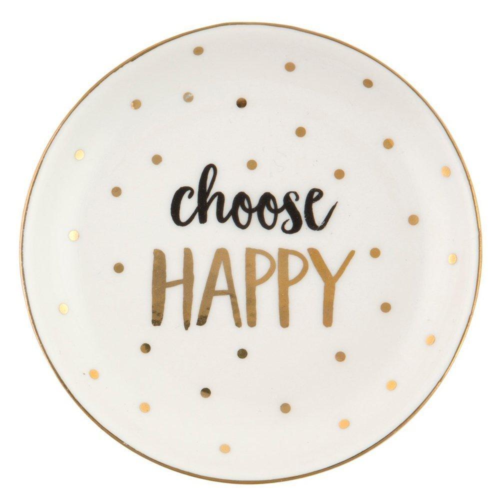 'Choose Happy' Metallic Trinket Dish Sass & Belle