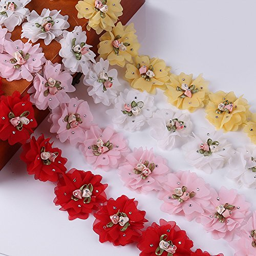 Misaya 4 Pcs Multicolor 3D Lace Trim Applique Sewing Craft Organza Fabric Ribbons Flowers with Rhinestone Appliques for Bridal Wedding Dress (Fabulous Fabric Flowers)