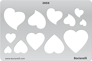 Plastic Stencil Template for Graphical Design Drawing Drafting Jewellery Making - Heart Hearts