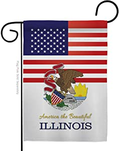 Americana Home & Garden US Illinois Garden Flag Regional States American Territories Republic Country Particular Area House Decoration Banner Small Yard Gift Double-Sided, 13