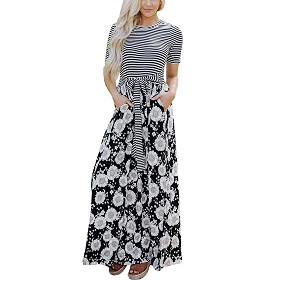 Guesspower Robe Longue Femme Ete Chic Sexy Col Rond Maxi Floral Tank Maxi  Dress Pocket Manches 4f41a0755db9