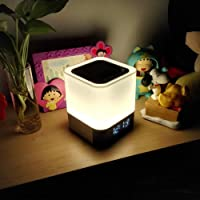 Night Light - 5 in 1 Bedside Lamp with Bluetooth Speaker, Touch Control & 4000mAh Battery, 12/24H Digital Calendar Alarm…