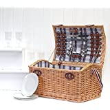 Stretford 4 Person Family Size Wicker Picnic Hamper Basket - Gift Ideas for Valentines, Mother's Day, Birthday, Wedding, Anniversary, Business and Corporate